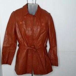 VTG Sears Leather Short Trench Coat Jacket size 14